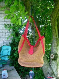 Vintage Straw and red leather shoulder Bag -Purse - Handbag by Brio  #craftshout