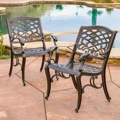 Covington Outdoor Cast Aluminum Dining Chair (Set of 2)