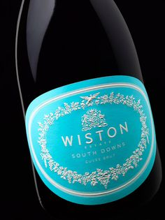 Wiston sparkling wine from England. Beautiful blue label by Stranger & Stranger - World Packaging Design Society