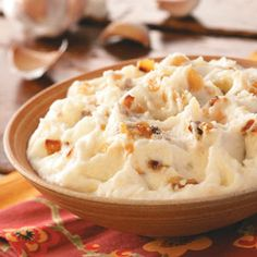 Texas Garlic Mashed Potatoes Recipe from Taste of Home -- shared by Richard Markle of Midlothian, Texas   #Thanksgiving