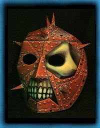 THE FACE PLATE  Who is this menacing harbinger of doom, their face hidden  in rivets and iron? Who's eyes peer darkly from these  soulless eye sockets? Who is this living monstrosity?  Why, It's YOU... in your new RavensBlight face plate!