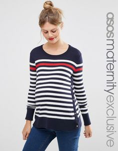 $49.00. Image 1 of ASOS Maternity NURSING Sweater With Popper Side in Stripe