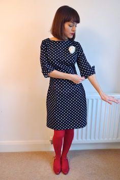 Polka dot dress with red tights <3 | (made by Tilly & the Buttons using New Look 6000 pattern)