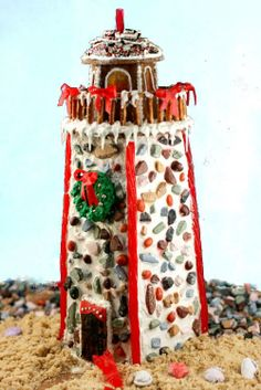 How to build a Gingerbread Lighthouse - with links to templates. It's really easy!
