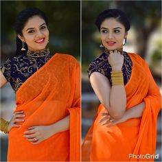 This Actress Shows 12 Fresh Ways To Wear Plain Sarees! Looking for plain sarees and designer blouse designs, check out 12 fresh ways on how to style these simple sarees. Saree Blouse Neck Designs, Fancy Blouse Designs, Plain Saree With Heavy Blouse, Modern Saree, Simple Sarees, Stylish Blouse Design, Stylish Sarees, Saree Look, Blouses For Women