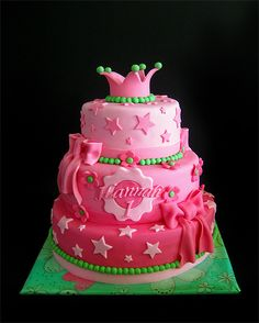 Pink! - Pink cake for a girls first birthday!