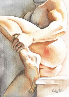 PRINT-of-Original-Art-Work-Watercolor-Painting-Gay-Male-Nude-Come-Close
