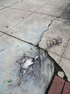 Delightful 3D Chalk Art Playfully Interacts With Objects On The Streets  Michigan-based artist David Zinn, previously featured for his adorable little chalk art creatures, has recently created a new series of these characters in playful scenes.