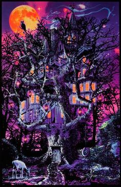 Opticz Treehouse Blacklight Poster by Joseph Charron 23 x Printed with bright fluroescent inks. Blacklight Reactive Made in the USA Psychedelic Effects, Psychedelic Art, Trippy Pictures, Magic Illusions, Wall Art Prints, Poster Prints, Black Light Posters, Trippy Wallpaper, Frames For Canvas Paintings