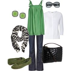 green, black, & white, created by htotheb on Polyvore