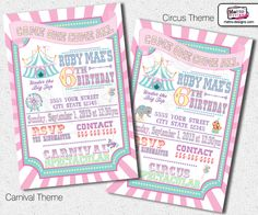 Circus or Carnival Party, Digital File: Custom Invitations, this is a printable file, I email the files to you, and you can print as many as you need. The colors are: Pastels, Pink, Lavender, Aqua & Yellow CHECK OUT MY STORE ON ZAZZLE! OTHER MATCHING PARTY ITEMS:  http://www.zazzle.com/metroeve...