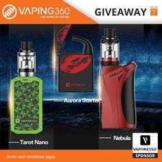 Vaporesso Nebula, Tarot Nano and Aurora Kit Giveaway