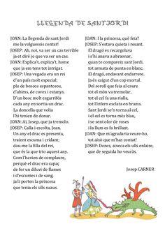Lectura i comprensió sobre Sant Jordi.