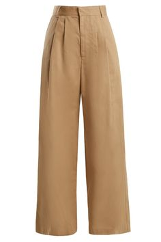 Raey Wide-leg Cotton Chino Trousers In Tan Retro Outfits, Casual Outfits, Cute Outfits, Fashion Outfits, Street Style Trends, Mode Kpop, London Fashion Weeks, Mode Style, Aesthetic Clothes