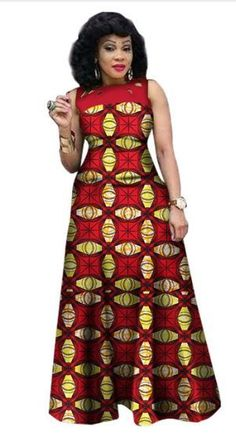 $48.07  #14  African Print African Sleeveless Sexy Dress Plus Size Dress BRW WY1341