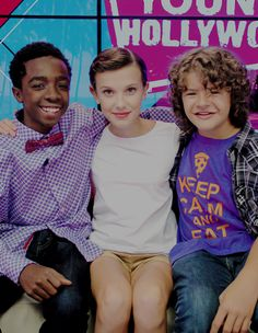 'Stranger Things' cast visits the Young Hollywood Studio on September 6, 2016 in Los Angeles, California. (Caleb McLaughlin, Millie Bobby Brown, Gaten Matarazzo)