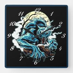 Werewolf Moon Square Wall Clock halloween costumes, party city halloween, spirit halloween #halloweenpartyd #halloweeny #halloweenminishoot, back to school, aesthetic wallpaper, y2k fashion Spirit Halloween, Halloween Diy, Halloween Costumes, Werewolf, Aesthetic Wallpapers, Back To School, Clock, Party, Watch