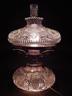 22 of 22 : American Brilliant Cut Glass Oil Lamp w/Chimney.John Wanamaker; KC05