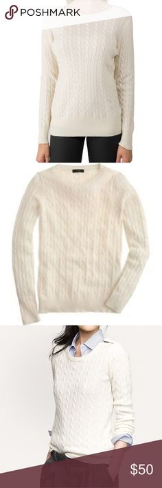 "J. Crew angora blend cable knit So soft sweater Excellent condition no flaws J. Crew Super Soft angora blend cable knit pullover sweater. Very warm and cozy. 19"" across from armpit to armpit and 27"" slight oversized fit. J. Crew Sweaters"
