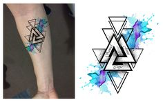 Geometric Family Watercolor Forearm Tattoo Design. Designer: Andrija Protic