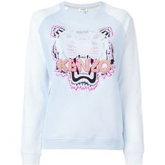 Kenzo Tiger Sweatshirt (1,235 SAR) ❤ liked on Polyvore featuring tops, hoodies, sweatshirts, blue, embroidered top, long sleeve tops, cotton sweatshirt, kenzo top and kenzo