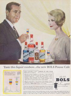 1960 Bols Liqueur Ad Liquid Rainbow Pousse Cafe by AdVintageCom