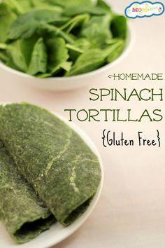 Tortillas de espinaca libres de gluten, hechas en casa