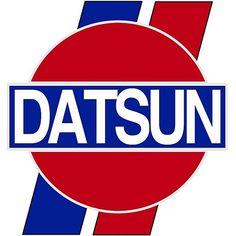 'Datsun Logo, Old School' Sticker by CharJens, Datsun 210, Luxury Car Logos, Datsun Roadster, Free Paper Models, Chevy, Mini Trucks, Retro Logos, Nissan 350z, Jdm