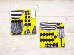 "Marimekko pot holder hot pad black yellow vegetable trivet coaster mug rug cotton kitchen decor baking cooking housewarming hostess gift 8"" by poppyshome on Etsy"