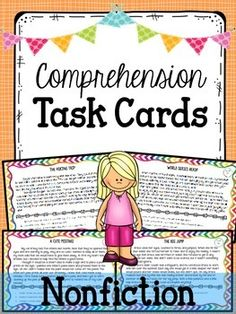 Nonfiction task cards-great for assessing basic reading comprehension skills and strategies! $