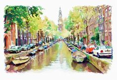 """Watercolor painting of Amsterdam.This artwork is featured in:""""Amazing Art And Artists"""" Art"""" And Traditional Art And Photography"""" Art And Resources"""""""
