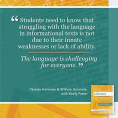 In the book, Total Literacy Techniques: Tools to Help Students Analyze Literature and Informational Texts, Pérsida Himmele & William Himmele, and Keely Potter share their own literary practices and journeys for helping students read independently and critically.