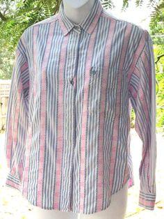 Details Womens Long Sleeve Button Down Shirt Size M Multi-Color Striped Cotton #Details #ButtonDownShirt #Casual