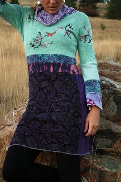 Crocus Blossom Eco/Upcycled Tunic Dress Size by DarkstarHandmade