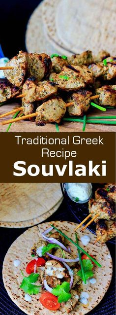 Souvlaki (σουβλάκι) is a popular Greek dish made from small pieces of pork, chicken or beef that are traditionnally grilled on a barbecue. Healthy Eating Tips, Healthy Nutrition, Greek Dishes, Vegetable Drinks, Moussaka, The Fresh, Stuffed Peppers, Meals, Dinners