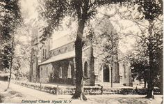 Black & white postcard, dated 1911, of Grace Episcopal Church in Nyack. From the Hudson River Valley Heritage collection.