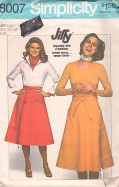 Simplicity 8007 1970s Jiffy Misses  Back Wrap Skirt  vintage sewing pattern by mbchills