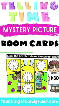 I just love BOOM cards. I use them with my class and it is so nice to have a quick assessment of whatever skill my students are working on. They are perfect for distance learning. This activity is perfect for helping your kindergarten, 1st, and 2nd grade students learn to tell time from afar. it has 3 mystery pictures with 9 problems in each set. #distancelearningactivities #2ndgradeactivities #boomcardsactivities Teaching Second Grade, 2nd Grade Math, Learn To Tell Time, 2nd Grade Activities, Time To The Hour, Telling Time, Student Learning, Task Cards, Assessment