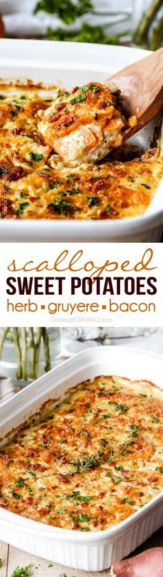 Looking for the BEST scalloped sweet potatoes ever EVER?! Fresh herbs simmered in cream poured over layers of potatoes, bacon and onions topped with Gruyere cheese. Perfect for Thanksgiving, company or every day! via @carlsbadcraving