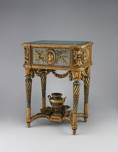 Stand (piètement) for a model of La Samaritaine Maker: Jean-Baptiste Vinceneux (ca. active Date: 1773 Culture: French, Paris Medium: Carved, painted, gilded and silvered walnut; French Furniture, Classic Furniture, Fine Furniture, Furniture Styles, Luxury Furniture, Vintage Furniture, Furniture Decor, Painted Furniture, Louis Seize