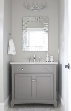 half bathroom ideas - Want a half bathroom that will impress your guests when entertaining? Update your bathroom decor in no time with these affordable, cute half bathroom ideas. Coastal Bathrooms, Upstairs Bathrooms, Downstairs Bathroom, Bathroom Small, Bathroom Bin, Modern Bathroom, Bathrooms Online, Lake Bathroom, White Bathrooms
