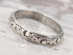 Rustic wedding ring  Sterling silver  floral ring by SilverStamped
