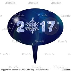 Snowflake Design New Year 2017 Oval Cake Toppers. Perfect addition for your Company or Family New Year's 2017 Celebration. Matching cards , postage stamps and other products available in the Christmas & New Year Category of the artofmairin store at zazzle.com