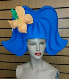 Sponge-foam-wig-hat-head-dress-60s-style-blue