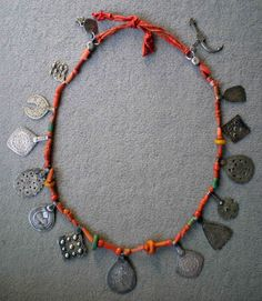 Old silver, coral, amber and amazonite Berber necklace.  Draa valley, South east Morocco | 450€