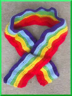 Crochet Rainbow Scarf by yodera on Etsy, $17.00