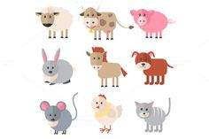 #Farm_animals_Icons . #Vector_flat_icon set ~ #Icons AI, EPS10, PNG (for each separate animal)