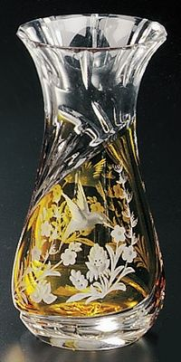 """Amber colored cased crystal is a Polish specialty.  Hand blown, cut and polished from the """"Julia"""" factory in Poland This is genuine Polish hand-cut leaded crystal with a hummingbird and floral design."""