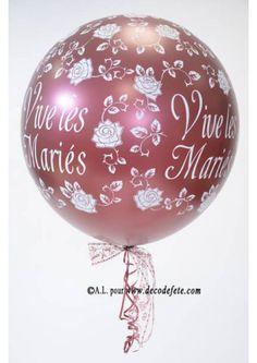 1 ballon 90cm Vive les Mariés bordeaux nacré