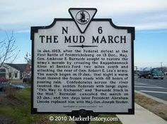 """The """"Mud March.""""  150 years ago, the Union Army was bogged down in Virginia mud while trying to attack Robert E. Lee. This indicated to Abraham Lincoln that the army commander's usefulness had come to an end..."""